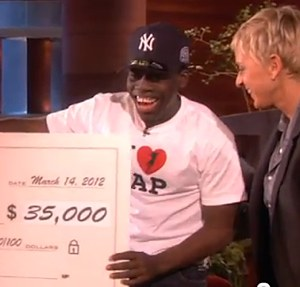 Ellen gives 35K to subway tap dancer