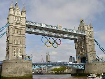 London Olympic rings on Tower Bridge