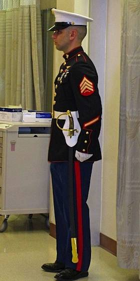 Marine stands guard - Riley Hospital for Children