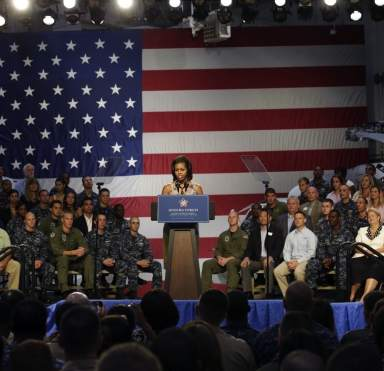veterans with Michelle Obama at hiring announcement -WH photo