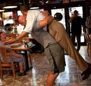 Obama picked up in bear hug