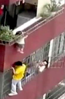 toddler dangles from neck china rescue