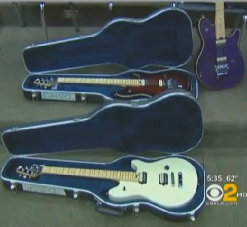 Guitars donated by Eddie Van Halen -CBS video