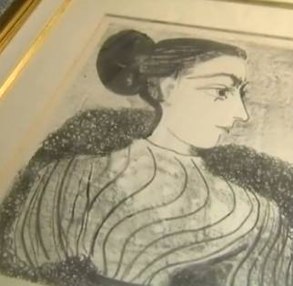 Picasso lithograph of woman framed