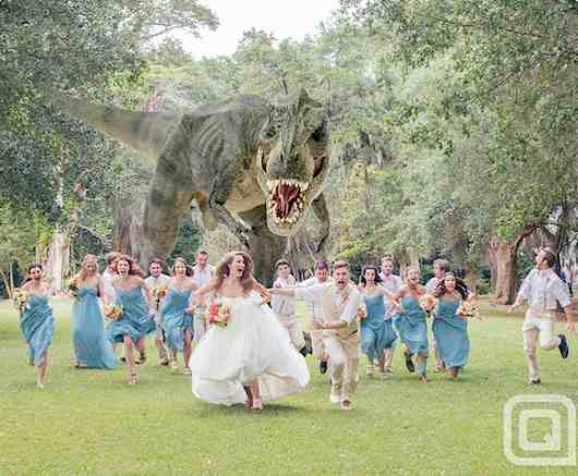 Wedding dinosaur photoshopped-QuinnMillerPhotog