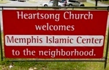 Heartsong church sign welcoming mosque