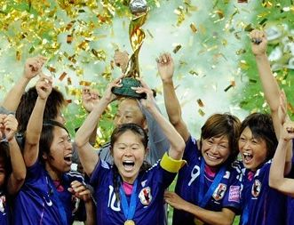 FIFA photo of Japanese women's team in celebration