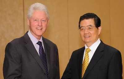 Bill Clinton w China President Hu