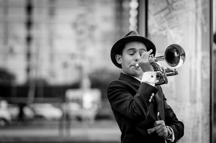 trumpet playing youth BW-Flickr-S Miramontes-CC