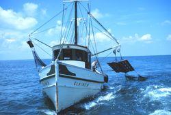trawler hauls nets
