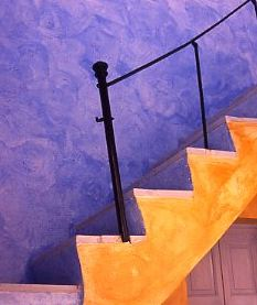 blue and gold stairs