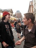 teens greet on street