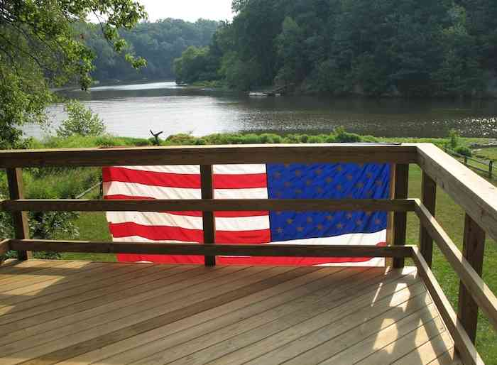 flag on a deckrailing
