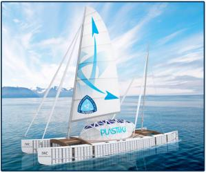 Plastiki boat made of plastic bottles and recycled material