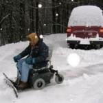 Special wheelchair powers through snow