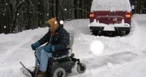 Special wheelchair powers through snow
