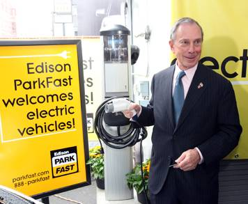 Mayor Bloomberg w/ electric-car charger, Spencer Tucker photo