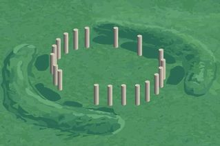 stonehenge-like finding, artist rendition