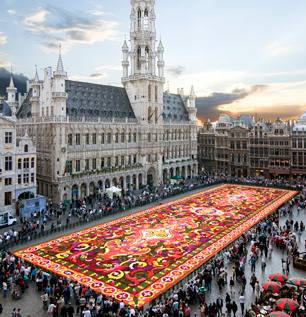 Flower carpet at Grand-Place, Brussels, Belgium