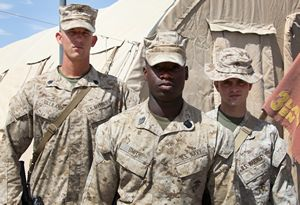 (from Left) From left to right, Staff Sgt. Luke Gilliland, Seaman Markie Smith, and Lance Cpl. Bradley Thornburg