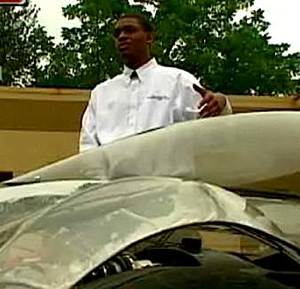student w/ electric car, KMBC-TV