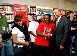 Gov. Deval Patrick visits Brockton HS, by Eugena Ossi, Gov's office