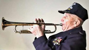 WWII trumpet-playing soldier