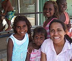 Catherine Freeman with kids, Foundation photo