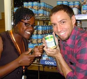 Trey Morgan at the food bank, for 30 Deeds-30 Days