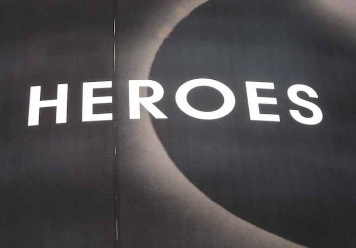 'Heroes' written on a billboard