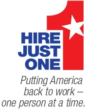 Hire Just One logo appears as newspaper ad