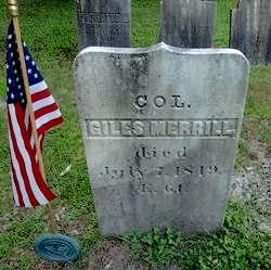 Col. Gyles Merrill's tombstone
