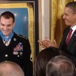 Obama applauding Medal of Honor winner