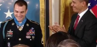 Obama applauding Medal of Honor winner