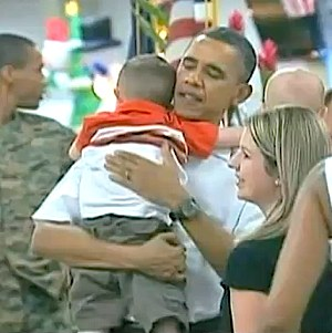 Obama hugs families of troops, WH/VOA