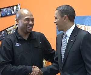 Obama with the Lakers act in service