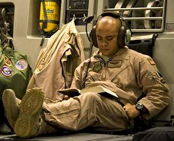 airman reading, DOD photo