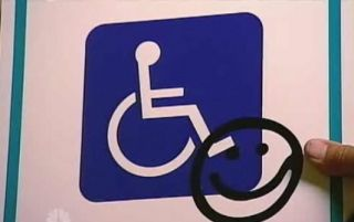 NBC Video still, Able worker sign