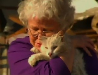 missing cat appears during TV int'v -CBS video clip