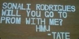 prom message posted on school bldg causes fury