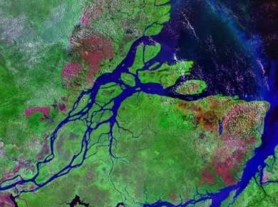 NASA image of rivers flowing into the sea