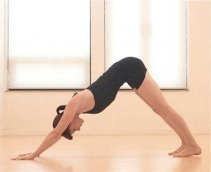 Downward Dog yoga pose via Gaiam.com