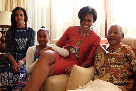 Obama family with President Mandela- Mandela Foundation photo