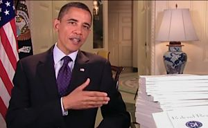 Obama with Federal Register, printed daily