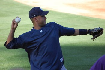 Derek Jeter warms up - photo by OneTwo1- GNU