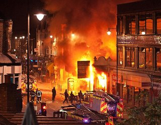 Photo of UK rioting, by Beacon Radio on Flickr -CC
