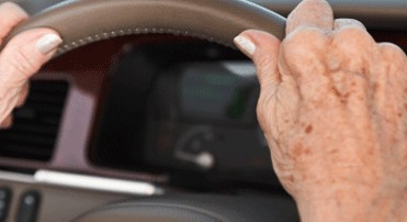 elderly hands on the steering wheel