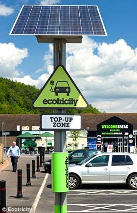 UK electric cars get free solar charging-Ecotricity photo