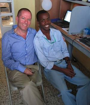 Haitian student w/ founder, University of the People