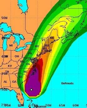 NOAA map of hurricane path